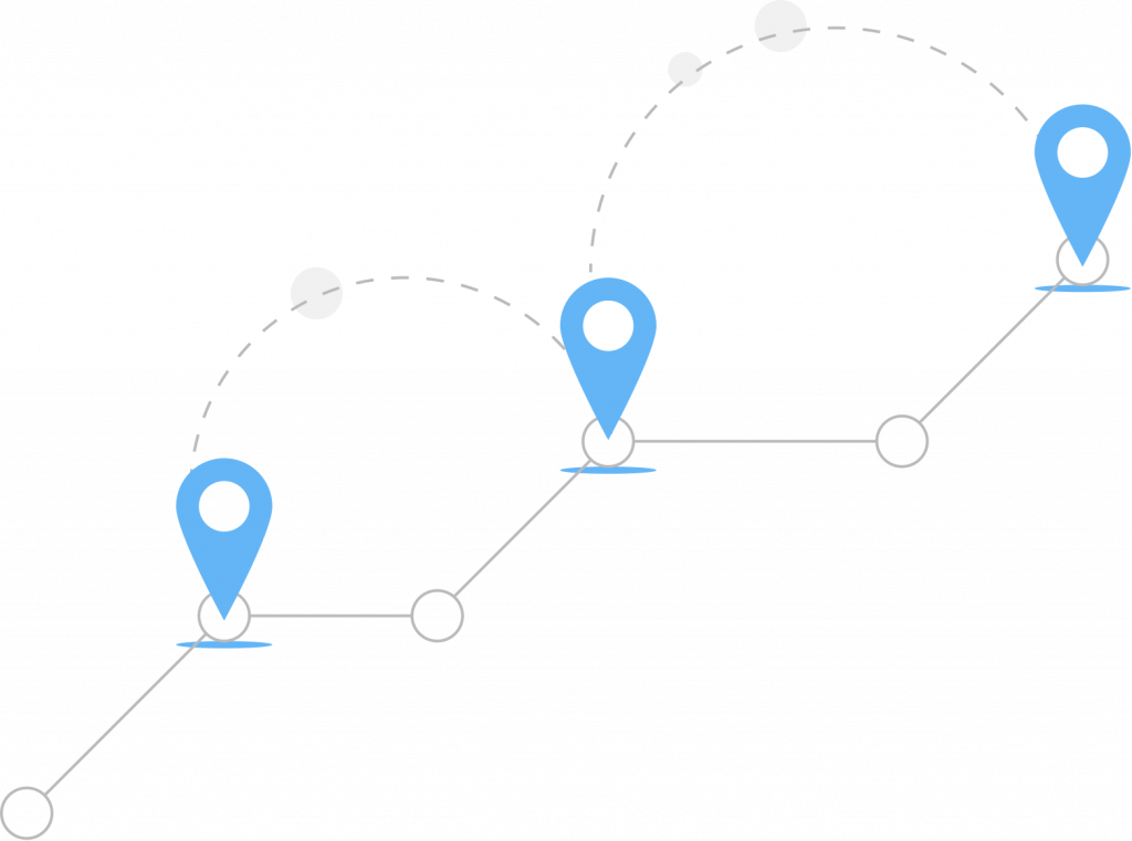A graphic of a timeline-esque line. At certain points in the line, there are geolocation pins and circles that denote various points.