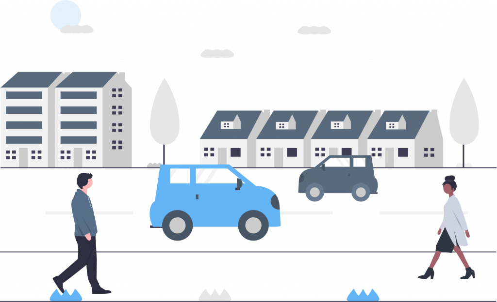 A graphic of people walking down a sidewalk with cars an a town in the background.
