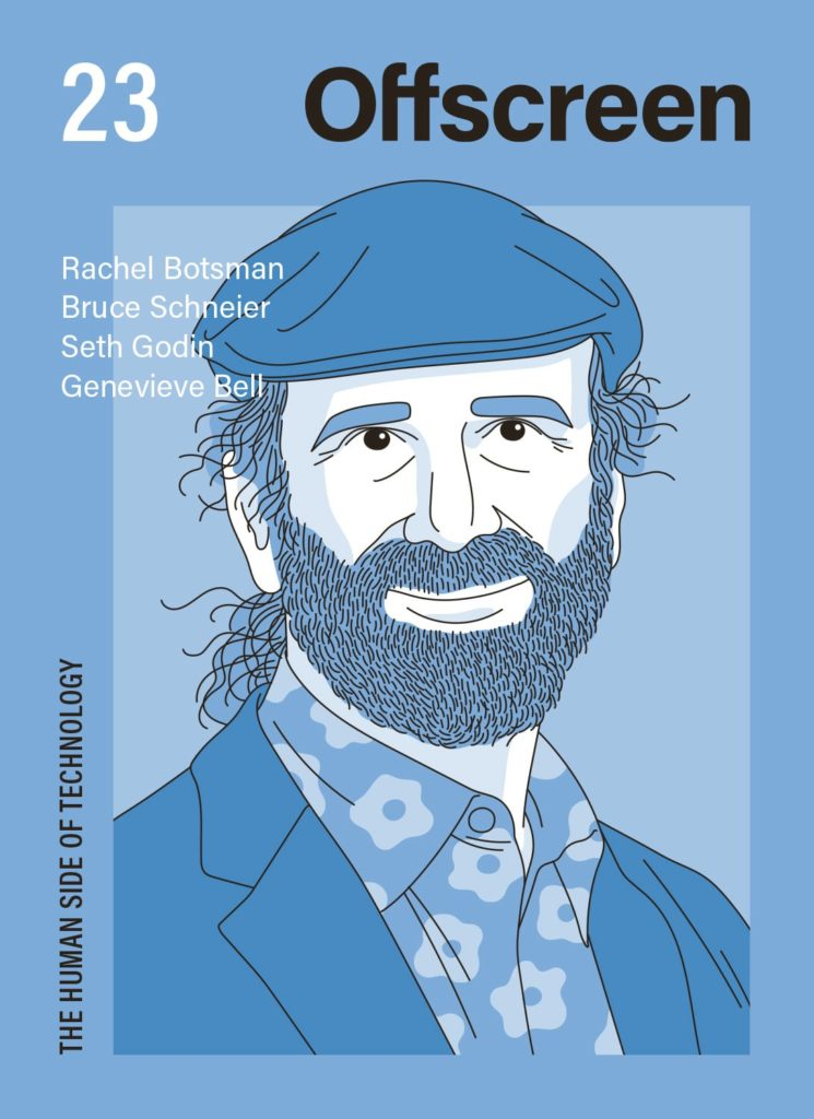 Image of the issue's cover. It's a blue, monochromatic cover with an illustration of one of the interviewees.
